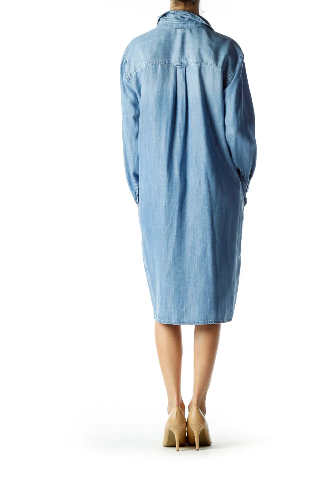 Blue Buttoned Long Sleeve Denim Dress