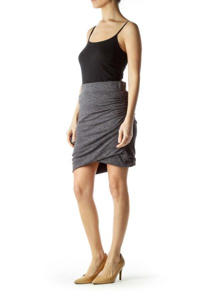 Gray Side Scrunched Skirt
