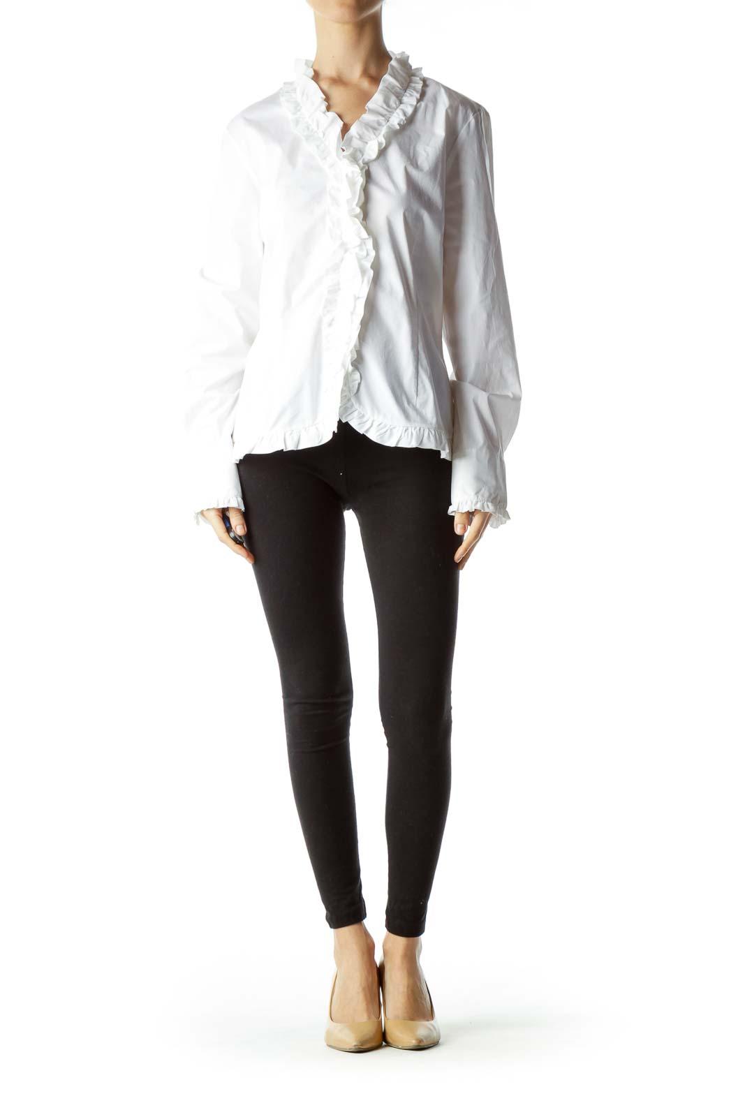 White Ruffled Long Sleeve Blouse