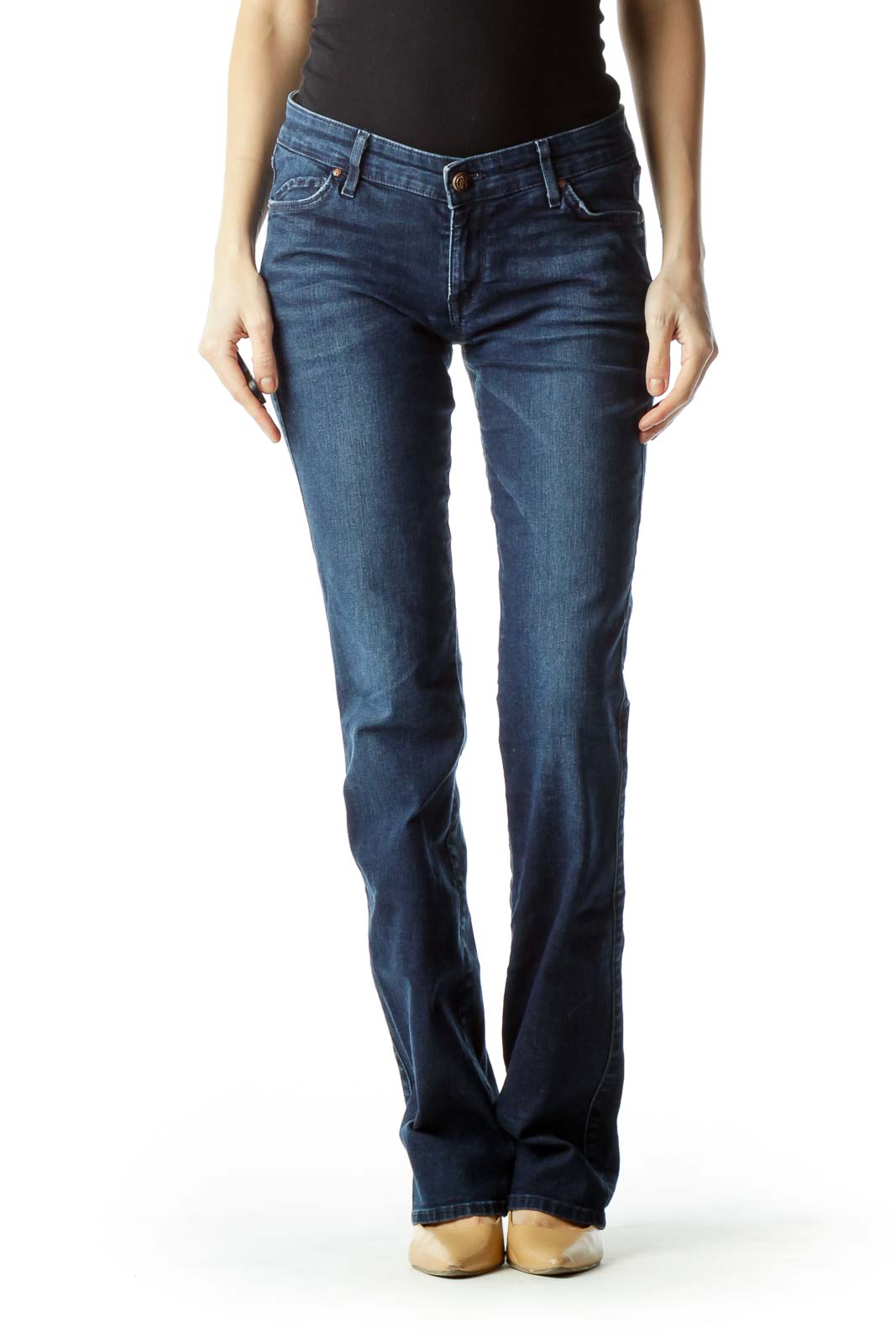 Blue Straight-Leg Denim Jeans