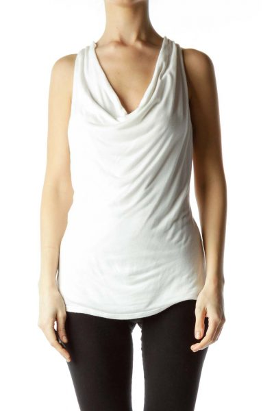 White Sleeveless Cowl Neck Top