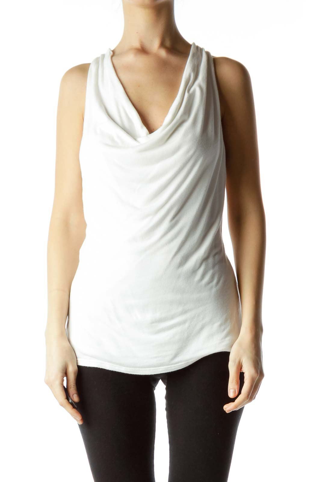 ca966e989caa15 Shop White Sleeveless Cowl Neck Top clothing and handbags at ...