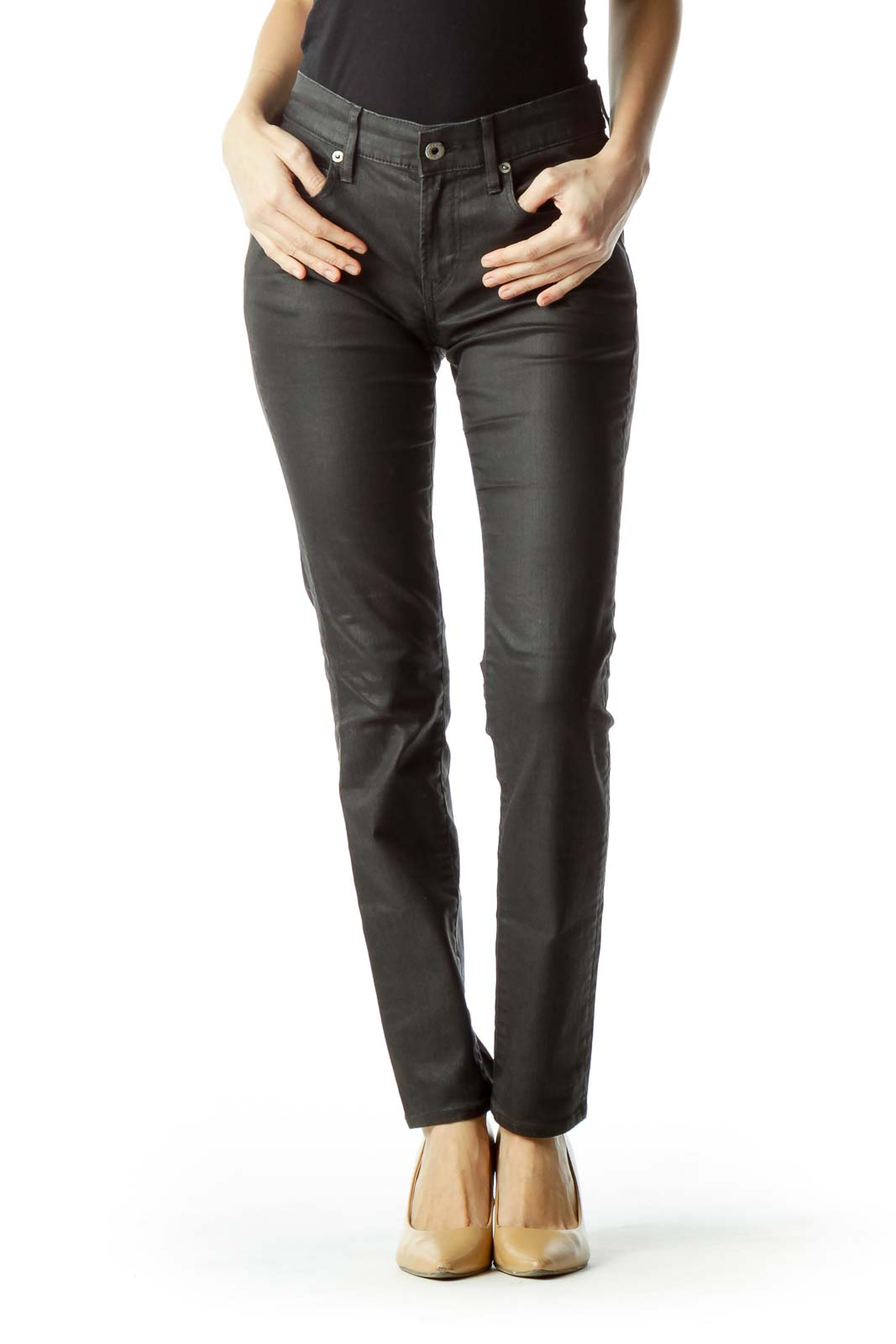 Black Slim Denim Pants
