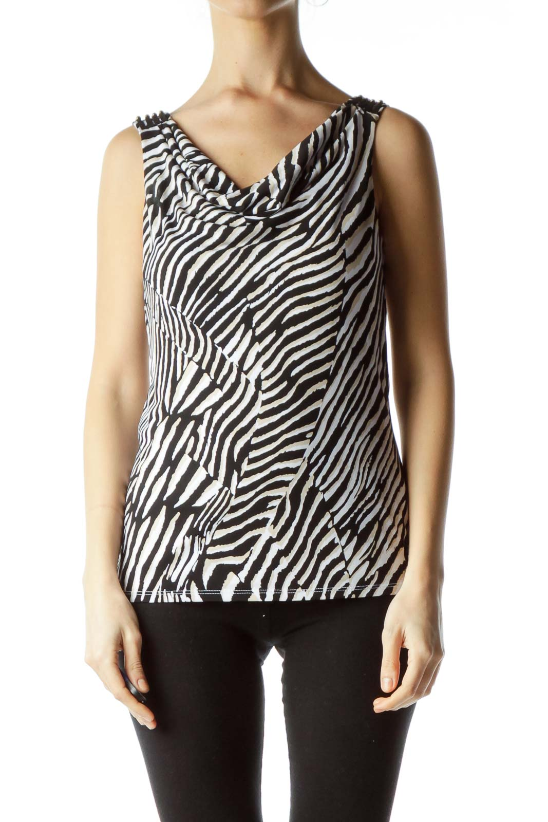 Black Beige Animal Print Tank Top