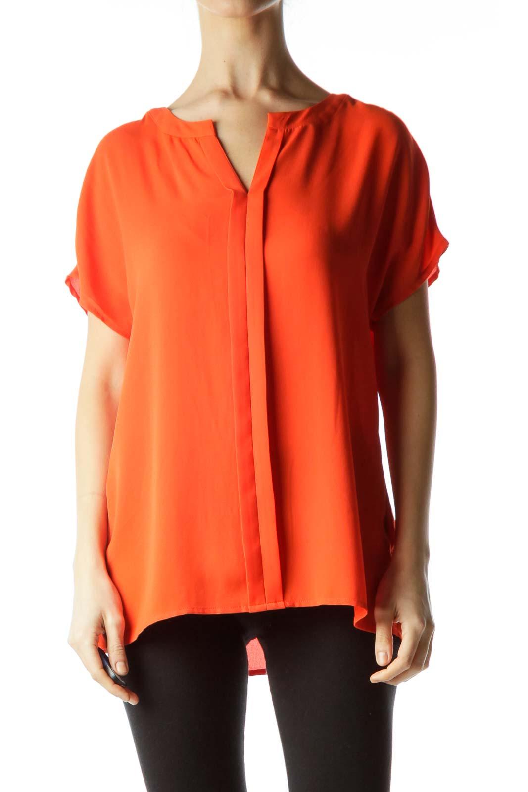 Orange Round Neck Short Sleeve Blouse