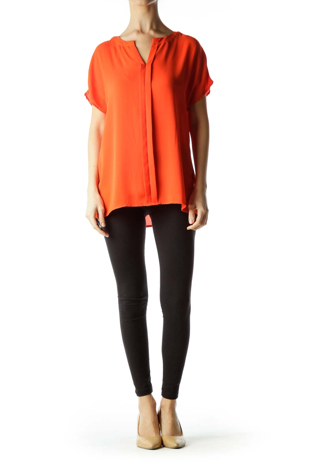 Orange Round Neck Short Sleeve Blouse