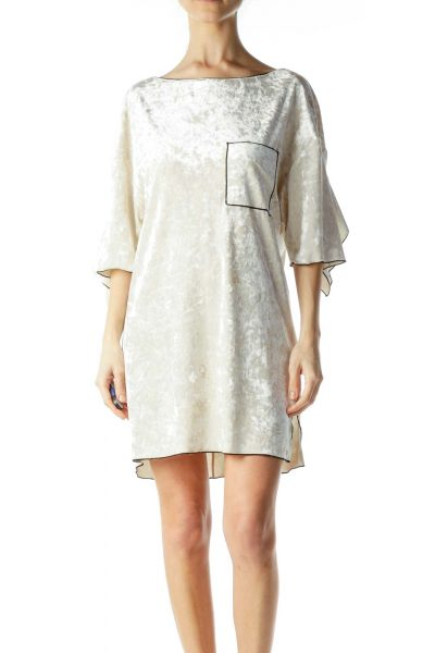 Cream Velvet Shift Dress
