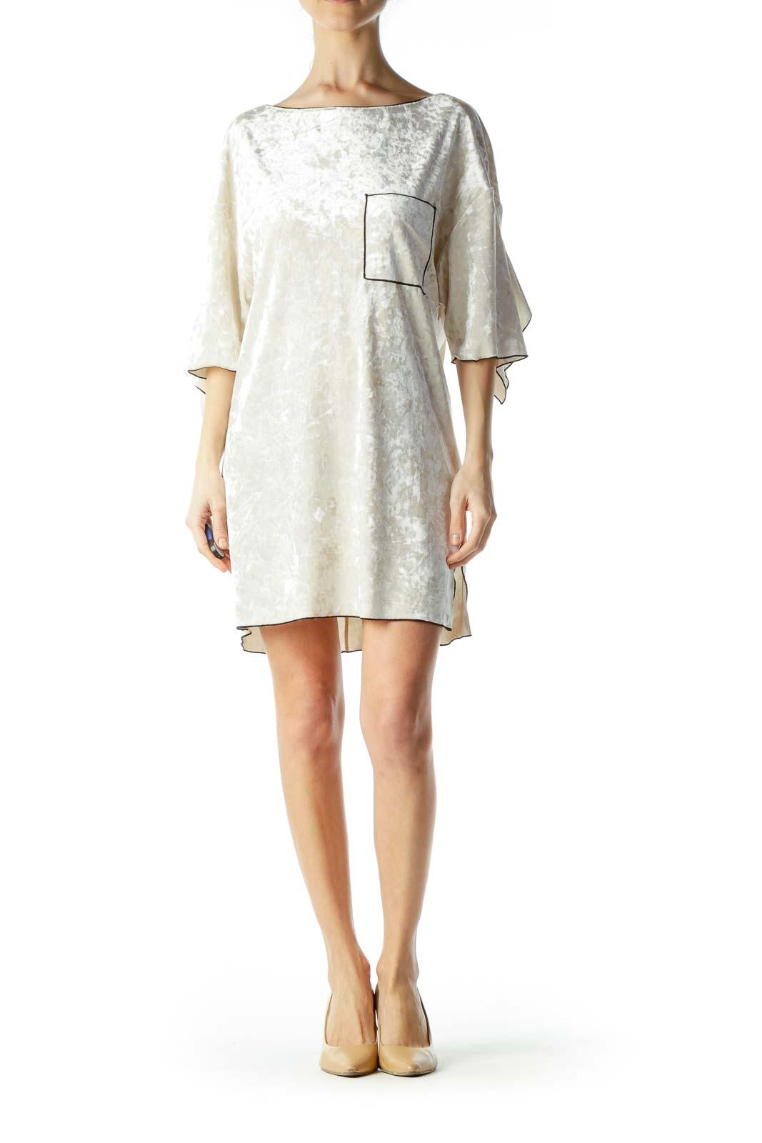 Cream Velvet Shift Dress