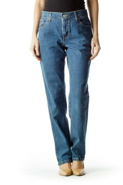 Blue Denim Straight-Leg Jeans