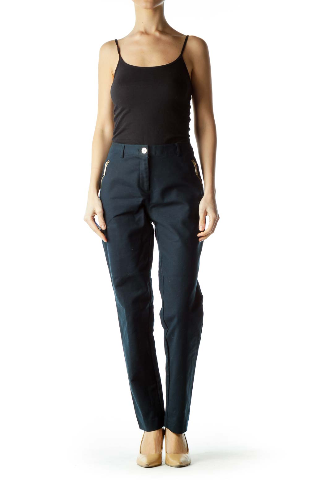 Navy Pants with Gold Zipper Pockets