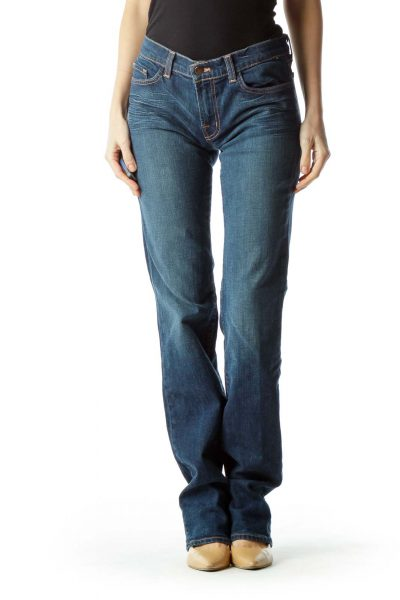 Blue Denim Straight Leg Pants