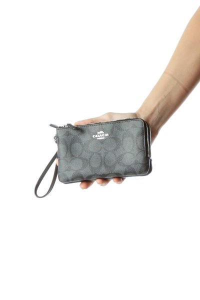 Gray Monogrammed Double Pocket Wristlet