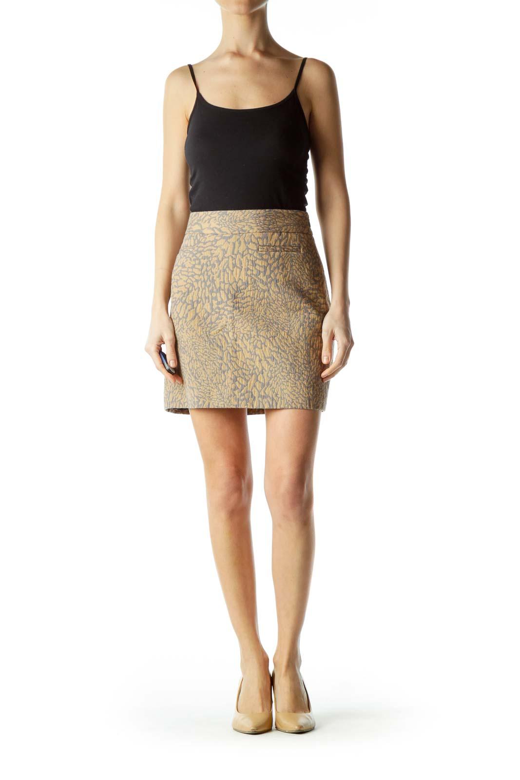 Beige Gray Textured Print A-Line Skirt