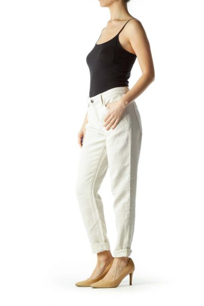 Beige Textured Cotton and Linen Pants