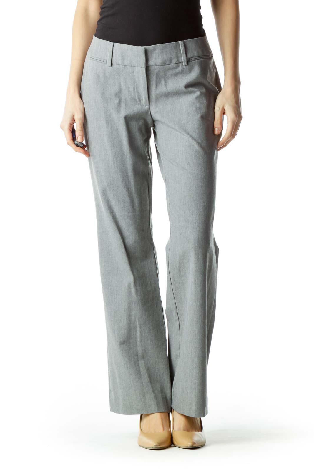 Gray Straight Leg Slacks
