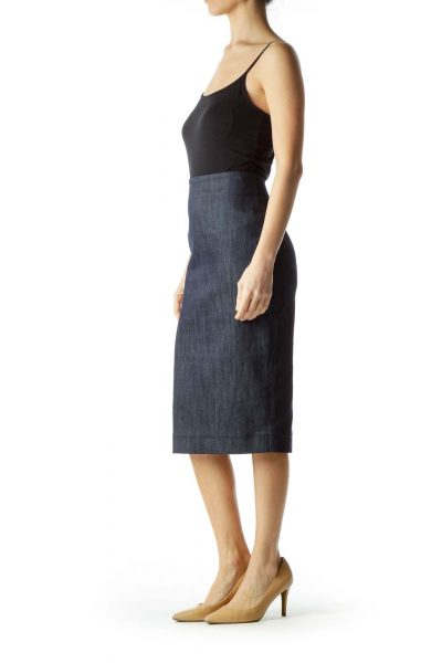 Blue Denim Midi Pencil Skirt