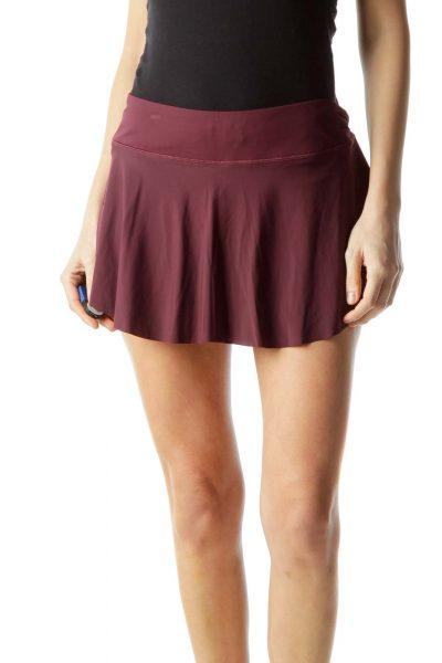 Burgundy Mini Flared Sport Skirt