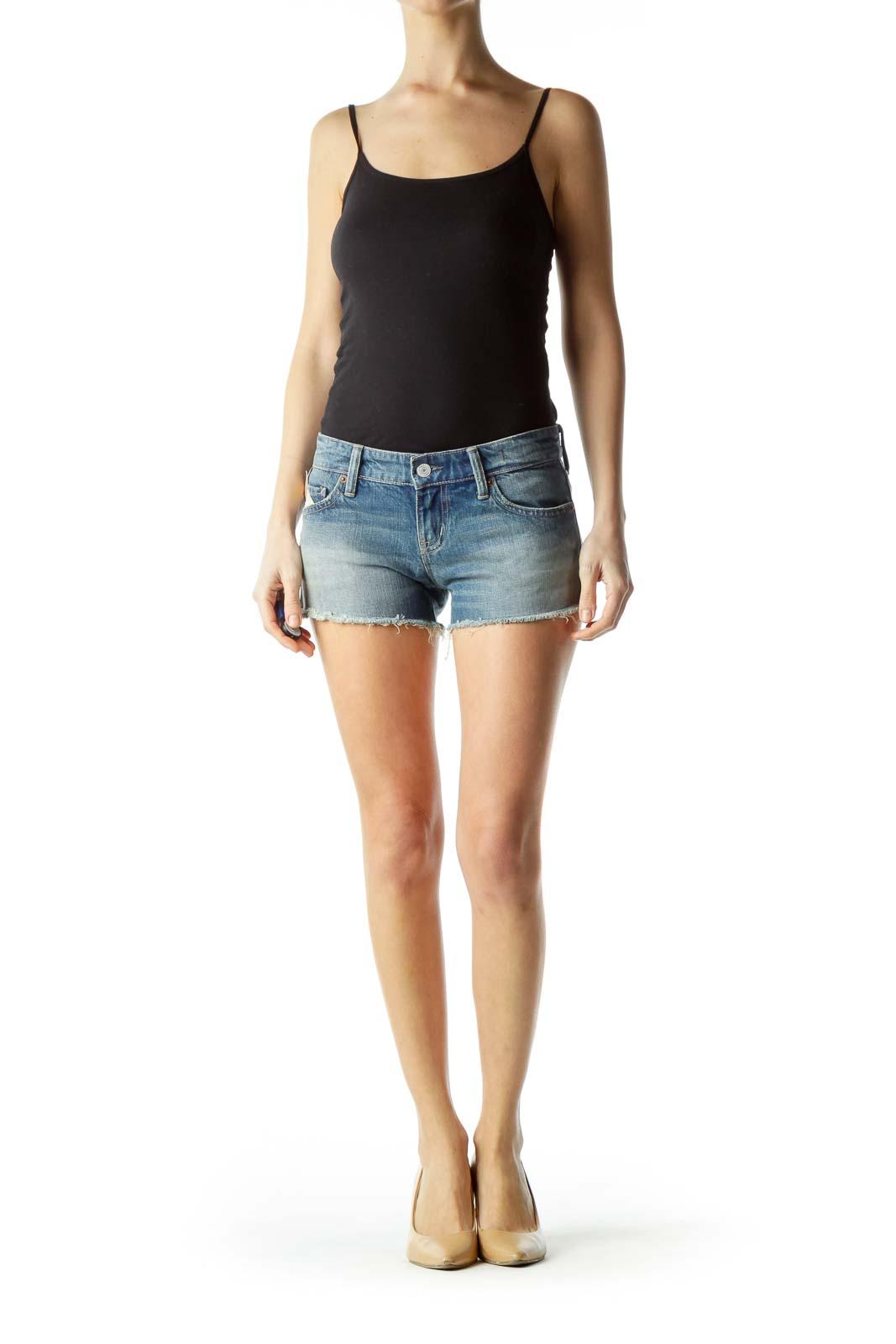 Blue 100% Cotton Denim Shorts