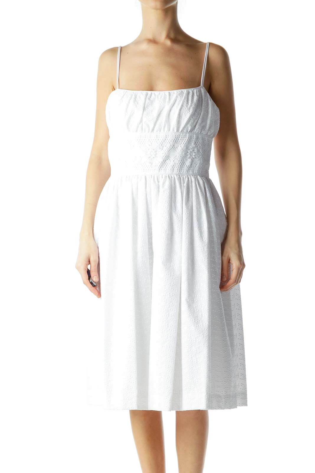 White Embroidered Beaded Day Dress
