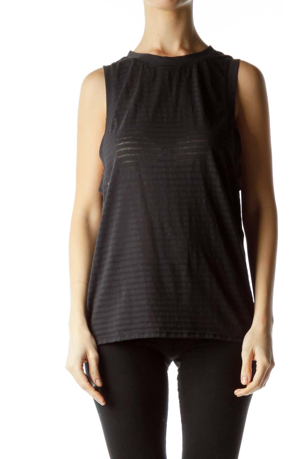 Black Round Neck Sleeveless Sports Top