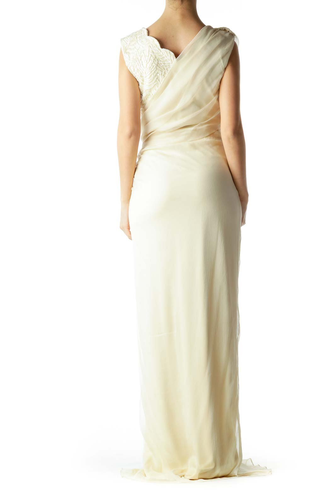 Cream Beaded Silk Embroidered Evening Gown