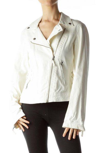 Cream Zippered Denim Jacket