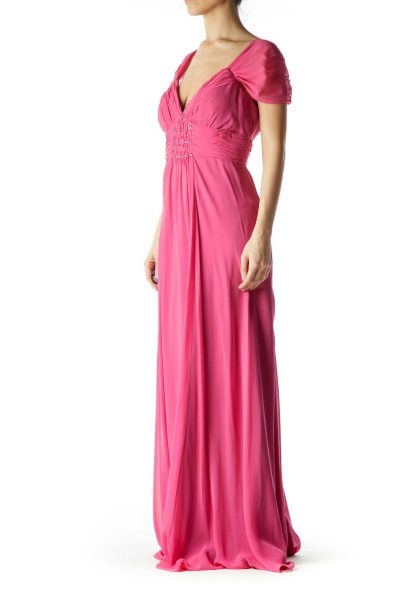 Pink Beaded Silk Evening Gown