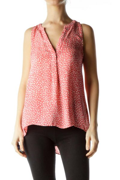 Pink Cream Hearts Print 100% Silk Blouse