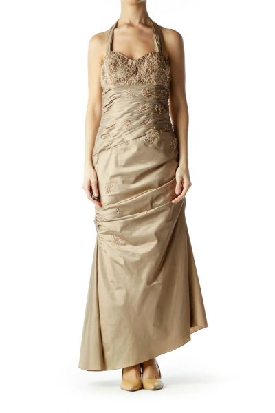 Gold Sweetheart Neckline Halter Evening Dress