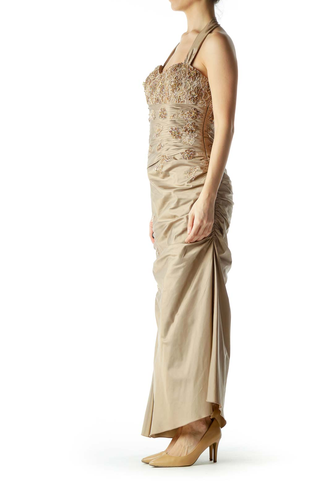 Gold Sweetheart Neckline Halter Evening Dress