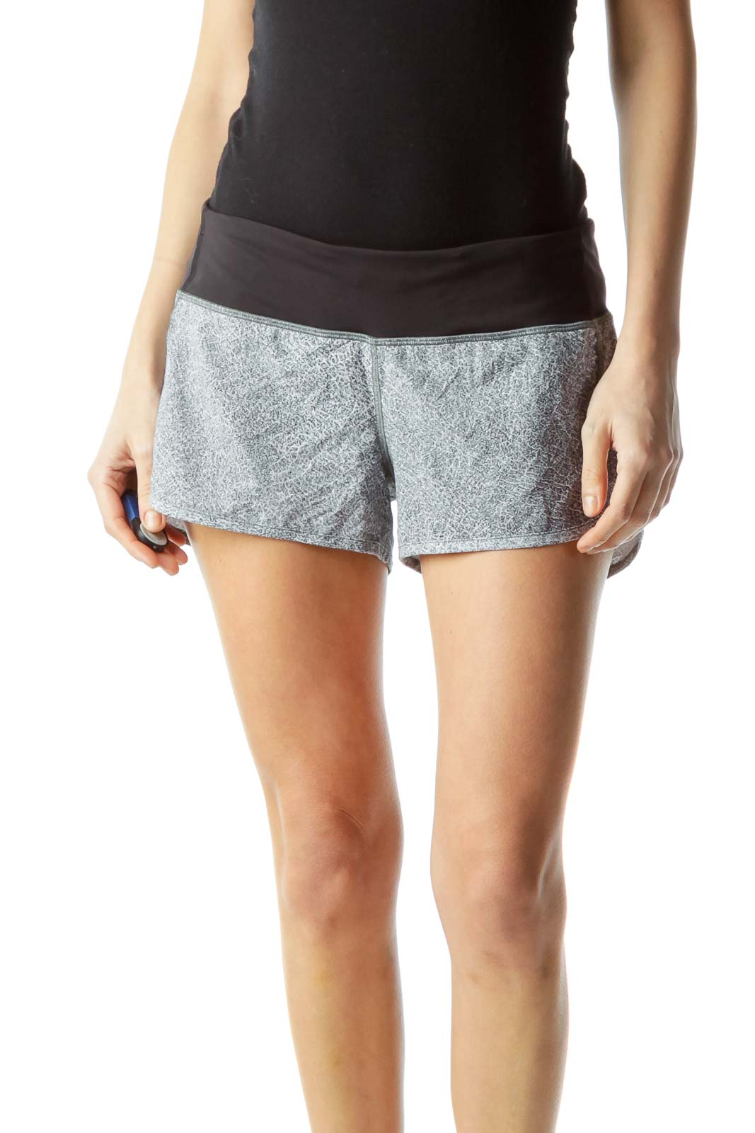 Black Gray Print Sports Shorts