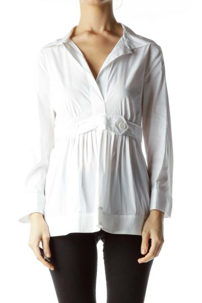 White Collared V-Neck Top with Bow