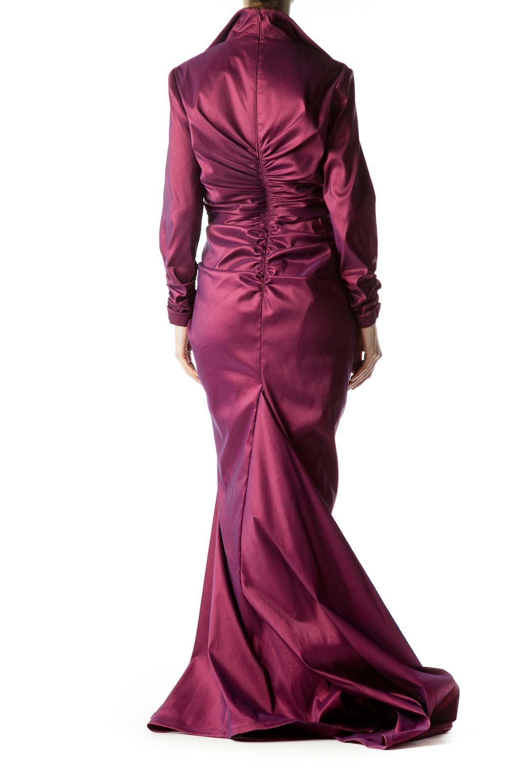 Burgundy Scrunch Detailed Long Sleeve Gown