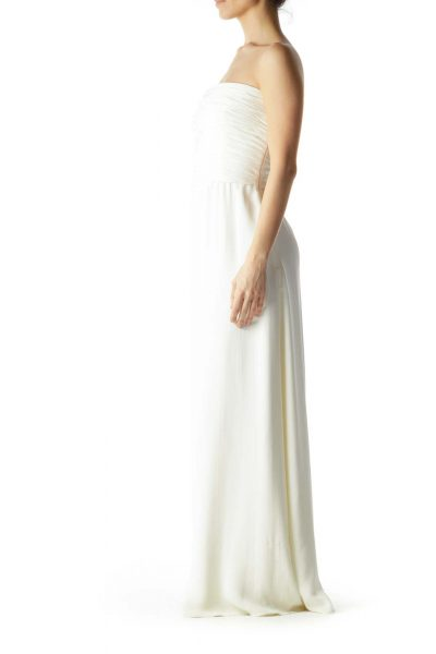 White Strapless Scrunched Evening Dress