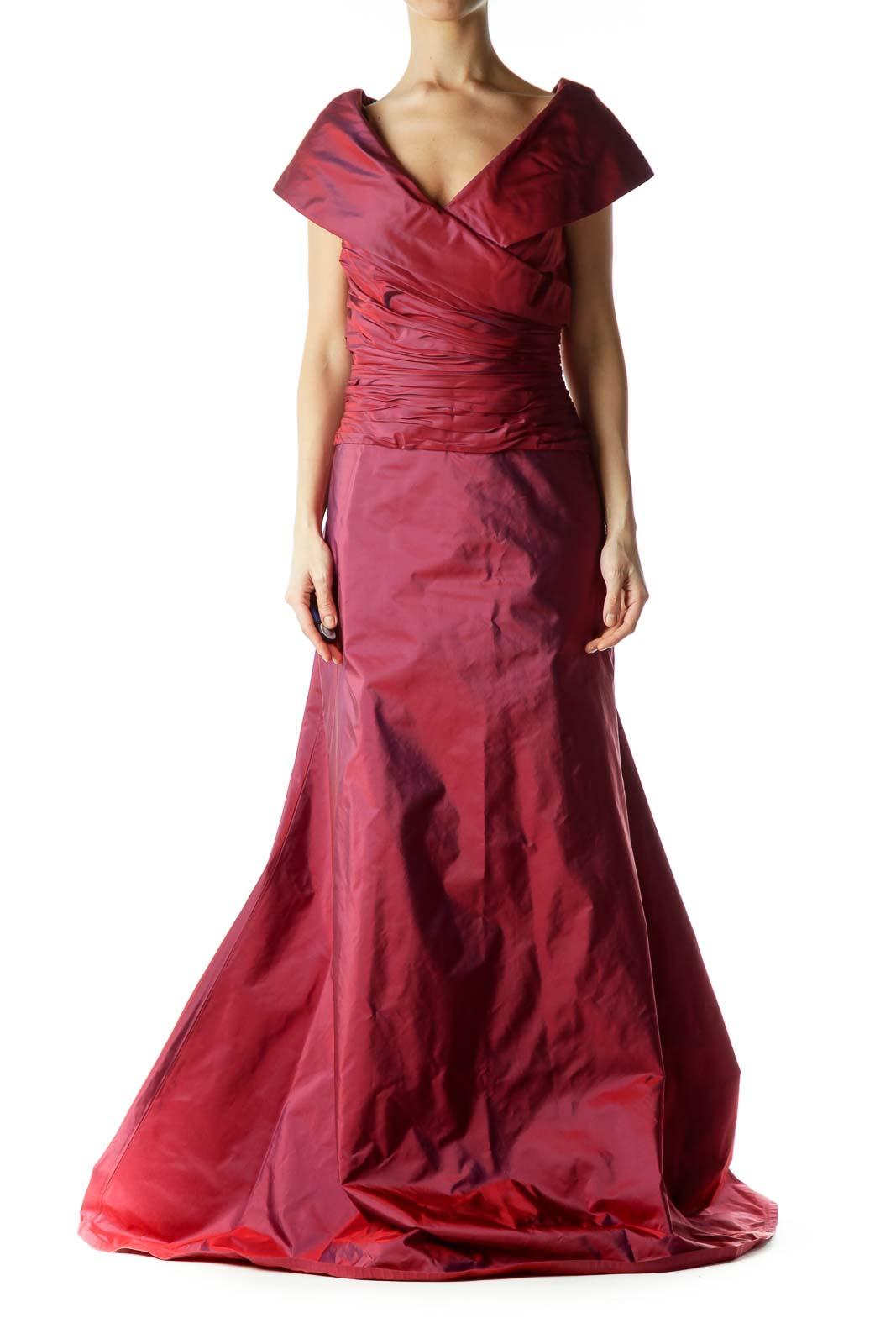 Burgundy Scrunch Detail V-neck Gown