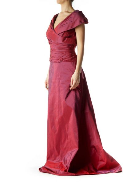 Burgundy Scrunch Detail V-neck Gown