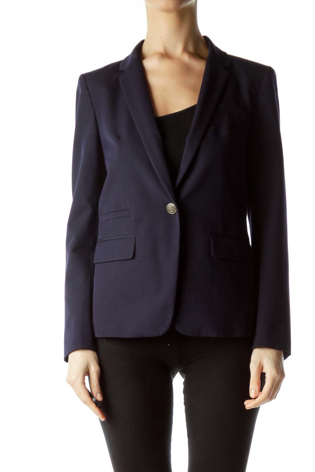 Navy Blue Buttoned Blazer