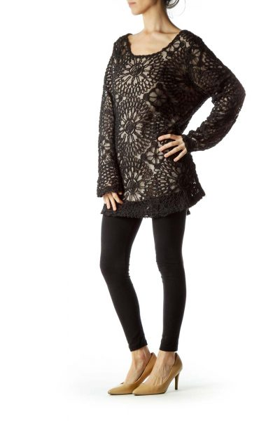Black Long Sleeve Floral Knitted Top