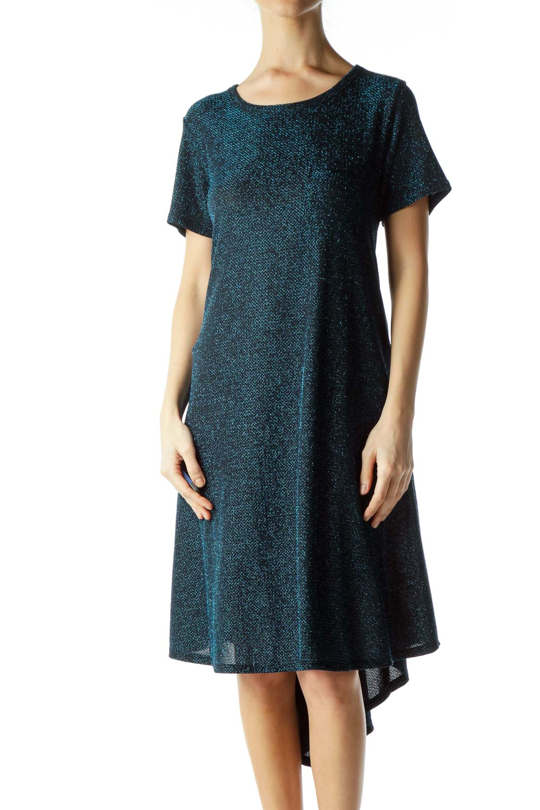 Black Blue Metallic Tent Dress