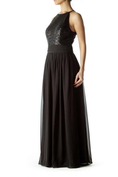 Black Sequin Detailed Evening Dress