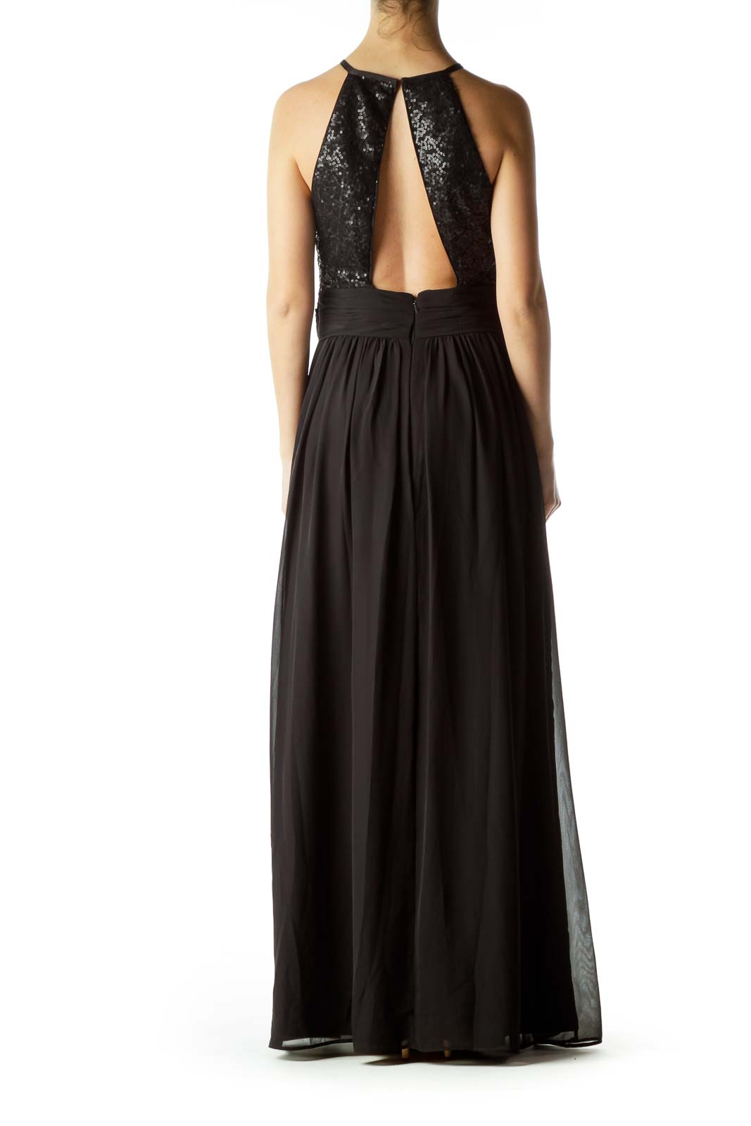 Black Sequin Detailed Evening Dress