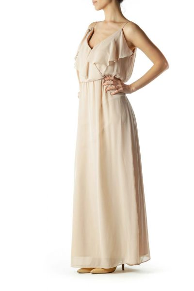 Beige Ruffle Detailed Maxi Dress