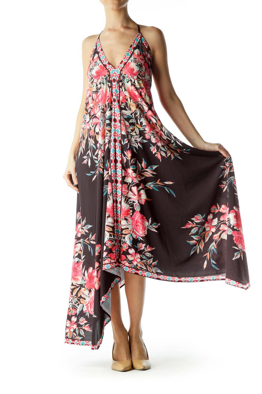 Black Pink Floral Print Maxi Dress