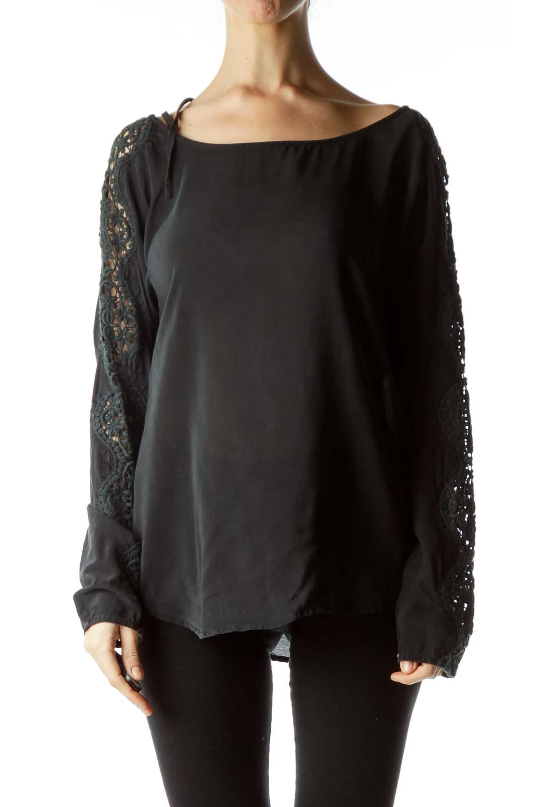 Black 100% Silk Knitted Sleeves Detail Blouse