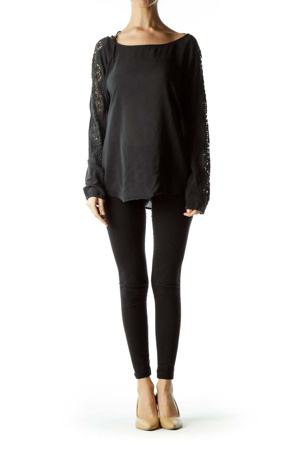 Black 100% Silk Knitted Sleeves Detail Blouse