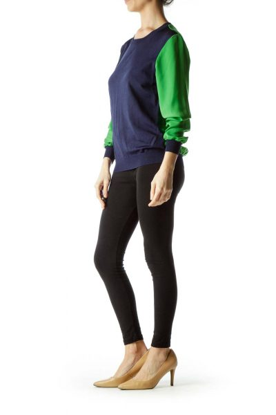 Navy Blue Green Two Textures Blouse