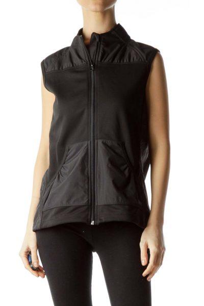 Black Collared Athletic Vest