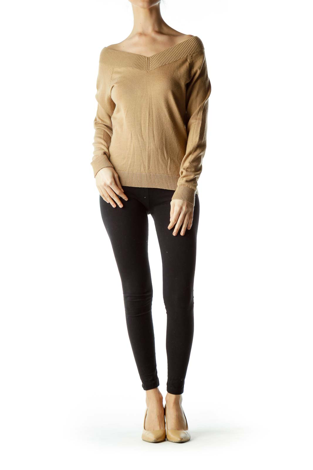 Brown V-neck Wool Sweater
