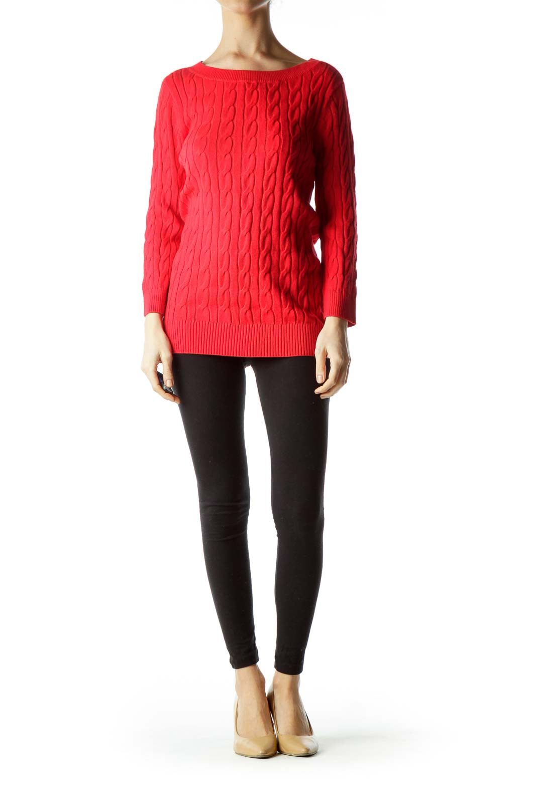 Red Cable Knit Long Sweater