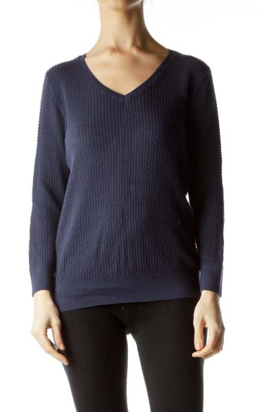Navy Textured Knit Top